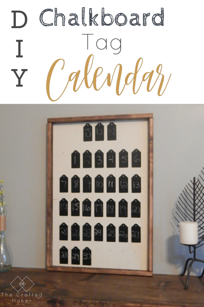 Make this adorable calendar with some scrap wood and chalkboard tags found in the dollar section at Target. Great way to decorate your home for less.