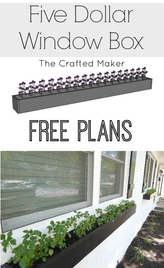 Spruce up the front of your home this Spring and Summer with an easy and quick 5 dollar window box. Plant some flowers and add color to your home.