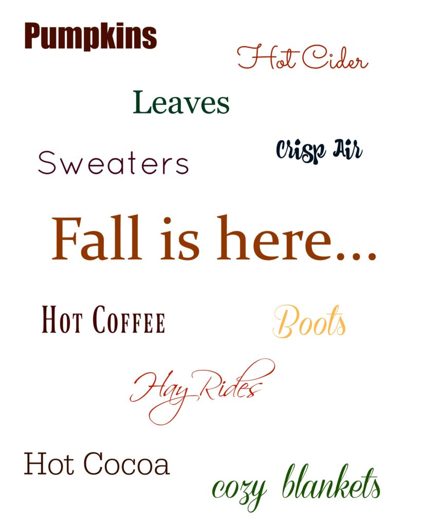 There are so many cozy aspects of fall such as sweaters, warm apple cider, and boots! This FREE printable is a great way to decorate for fall.