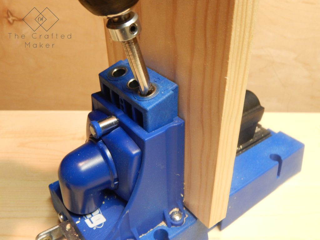 Drilling Pocket Holes for DIY Wood Bookends - The Crafted Maker