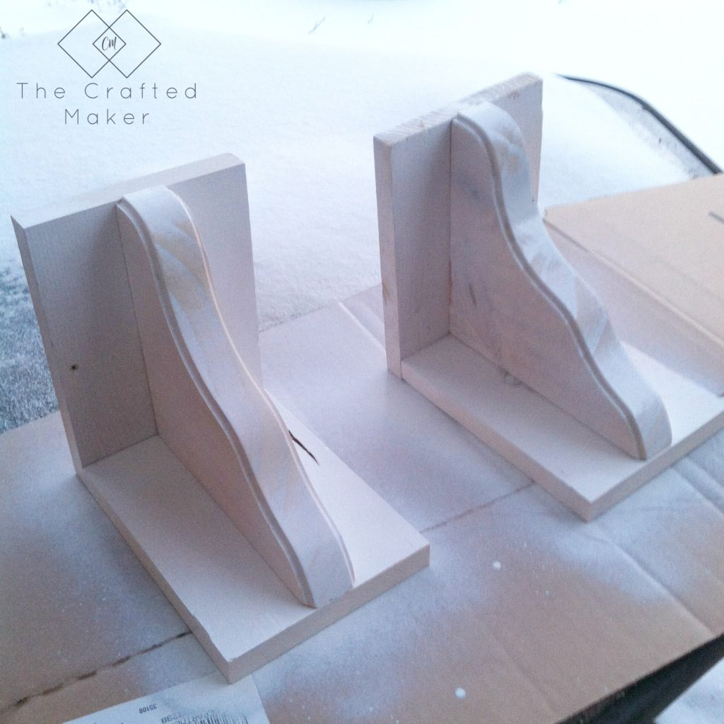 Painting the DIY Wood Bookends - The Crafted Maker