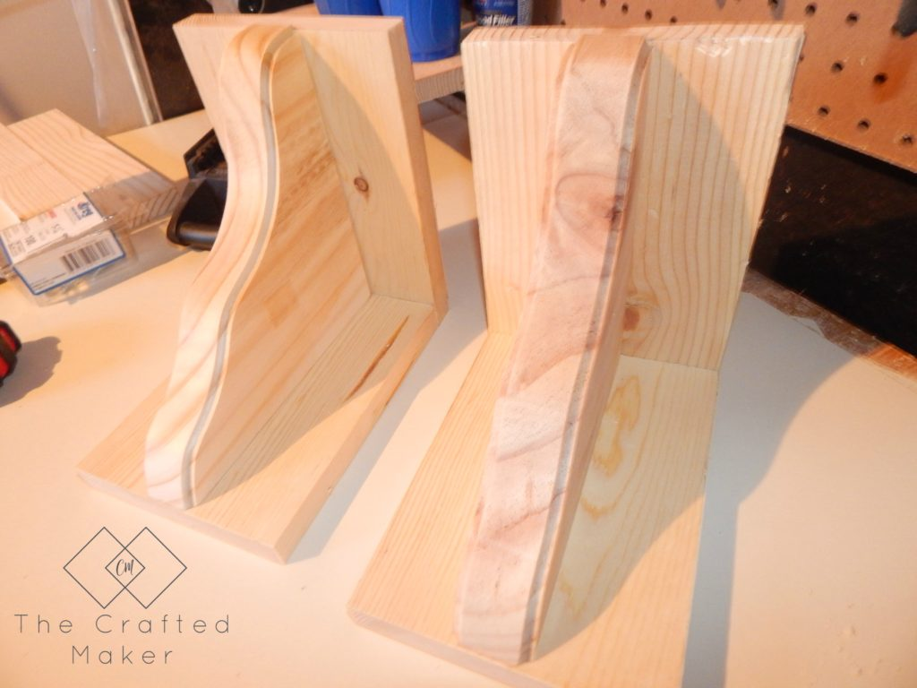 Unfinished DIY Wood Bookends Side View - The Crafted Maker