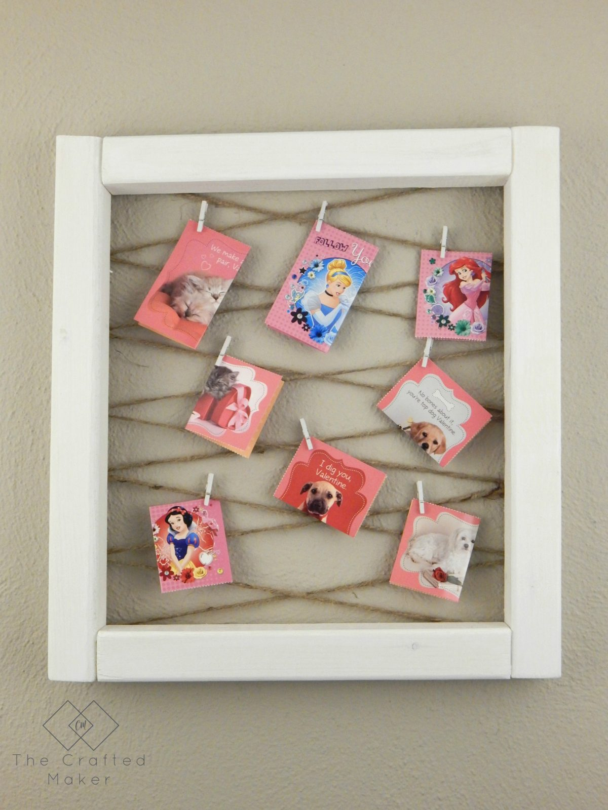 Quick and easy project to display all of those adorable Valentine cards children receive from friends and family. Super simple to make with just a few cuts.