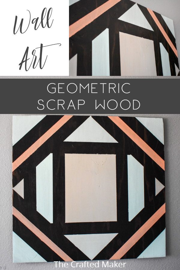 Make this fun geometric scrap wood wall art with scrap wood and paint you already have on hand. This is a quick, colorful, and creative afternoon project! #scrapwood #wallart #scrappysaturday