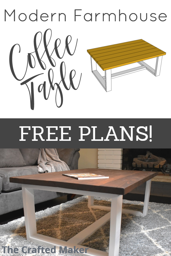 Give your living room some new life with this DIY Modern Farmhouse Coffee Table. Free PDF plans included along with step by step instructions and pictures! #modernfarmhouse #coffeetable #DIY