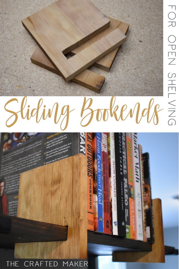 This Scrappy Saturday project is sliding bookends for open shelving. These sliding bookends are a great addition to any room with open shelving. This is a fun and quick project to complete! #bookends #openshelving