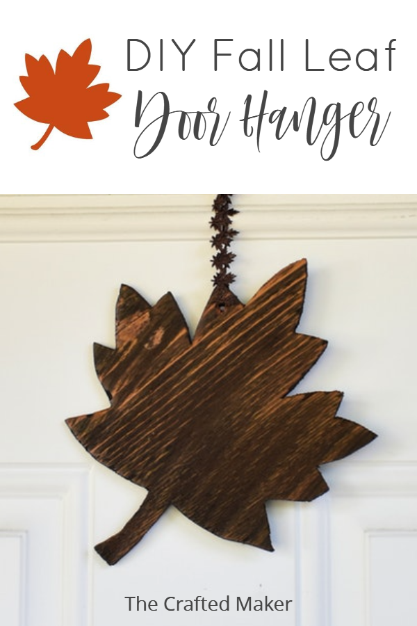 Fall is finally here and it's time to decorate accordingly. Make this quick, easy, and adorable Fall leaf door hanger with scrap wood you already have! #scrapwoodprojects #fallhomedecor #doorhanger #seasonaldecor
